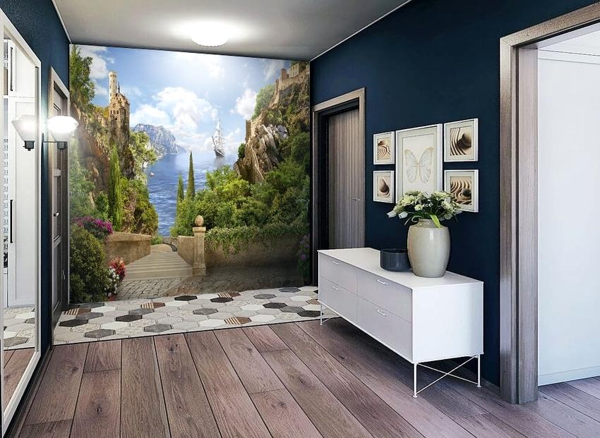 Откорректировать форму помещения с неровными стенами помогут кривые узоры или изображения деревьев