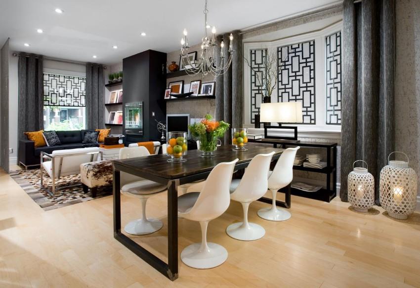 Выбирая шторы в современную кухню, нужно учитывать такие критерии, как стиль, цвет, форма и тип ткани