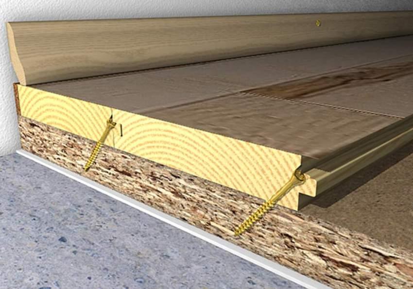 Деревянную доску крепят к фанере при помощи дюбелей и шурупов