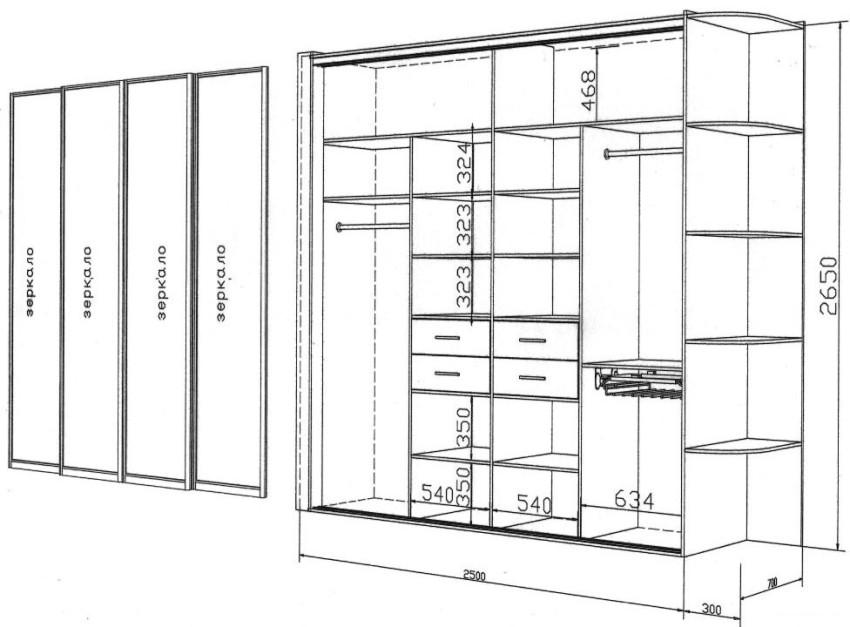 В оформлении прихожей понадобятся заранее подготовленные чертежи и схемы мебели