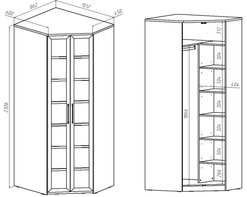 Чертежи углового шкафа-купе с размерами