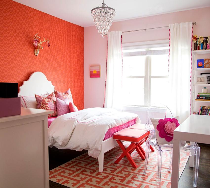 При грамотном применении розовый с оранжевым может выглядеть нежно и лаконично