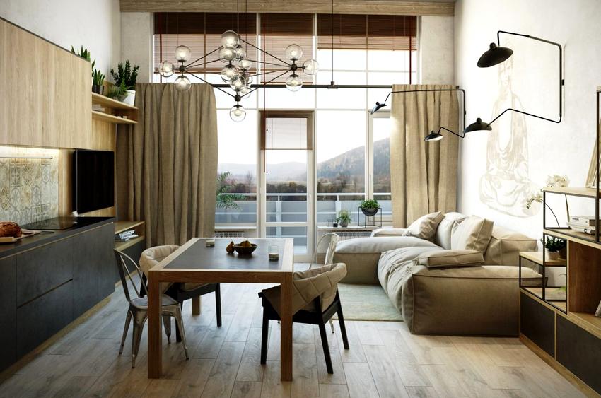 Если к угловому дивану со спальным местом придвинуть стол, получится обеденная зона, если убрать, то место для отдыха и сна