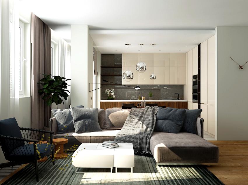 С помощью дивана на кухне можно организовать не только столовую, но и зону отдыха
