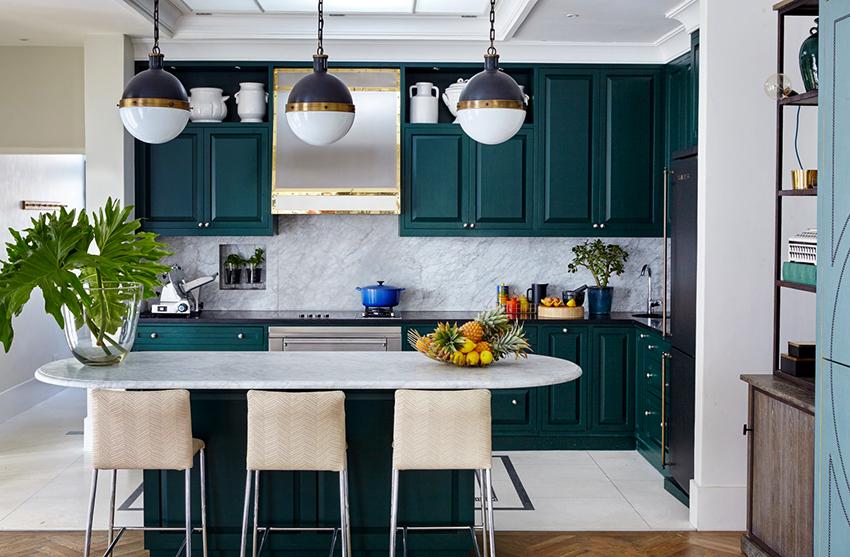Кухня зеленого цвета поможет позитивно настроиться на новый день