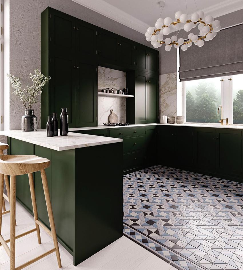 Зеленый используется на кухне в качестве основы, а другие цвета служат для того, чтобы его удачно подчеркнуть