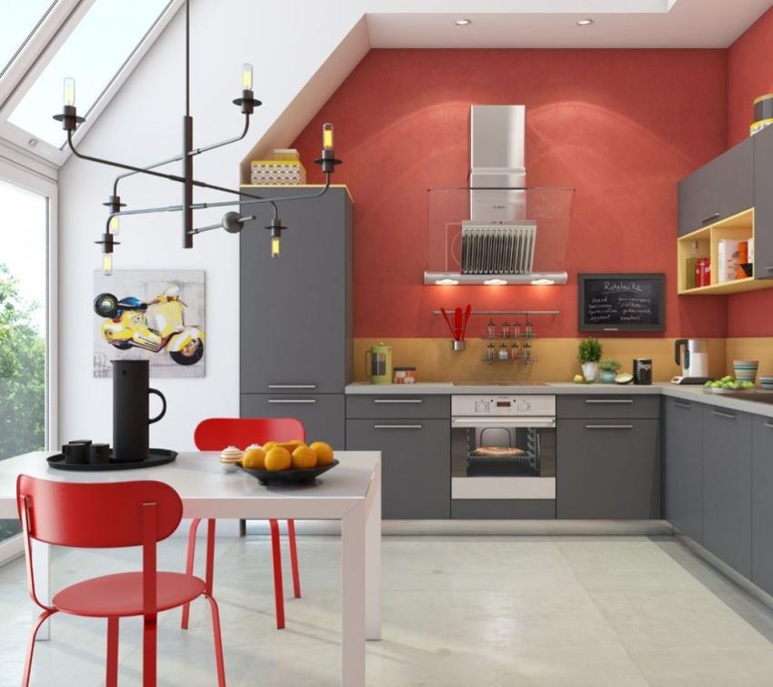 Выбор в пользу красно-желтой комбинации будет гармоничным в просторной кухне