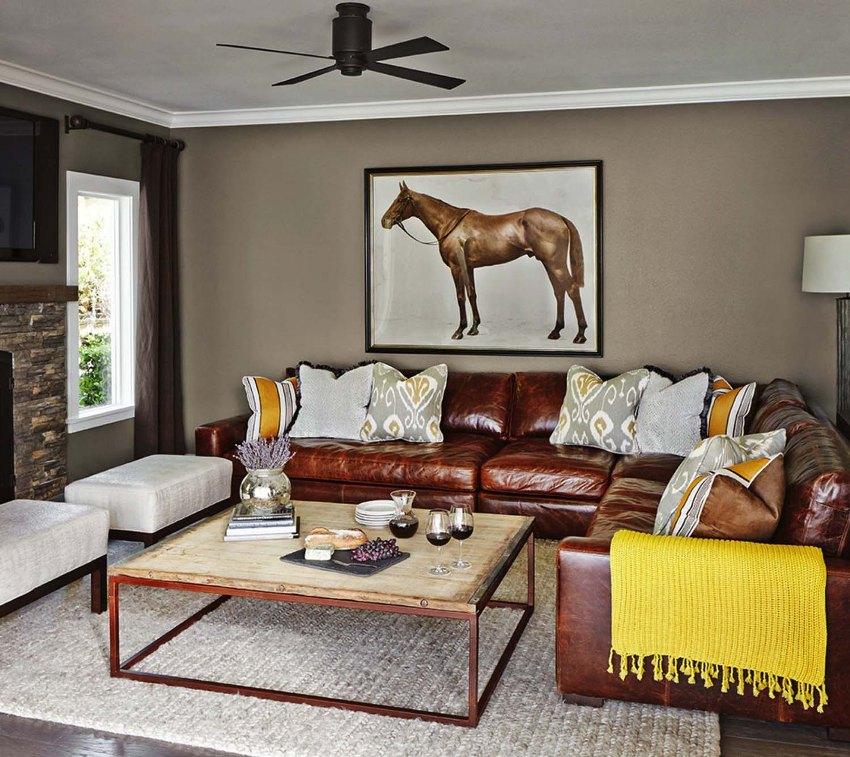 На угловую модель дивана можно усадить много гостей