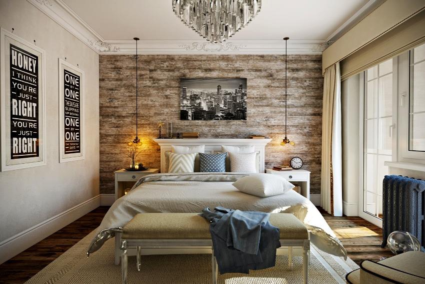 Помимо кровати, необходимо продумать наличие прикроватных тумб и систем хранения