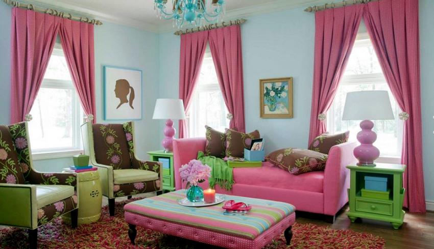 Шторы и занавески должны подбираться под цвет отделки или мебели