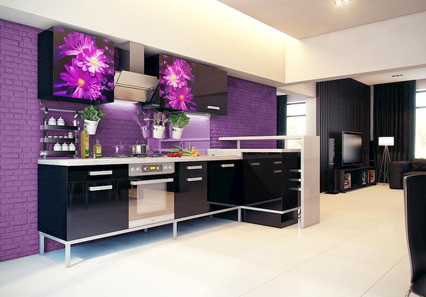 Сочетание черного и фиолетового – это классический дуэт, но использовать его в оформлении кухни необходимо очень осторожно