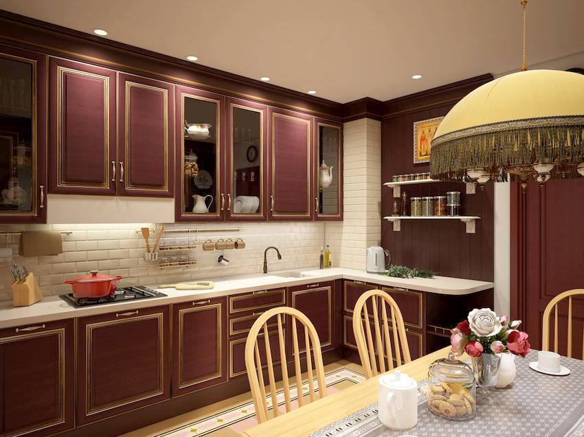 Солидный бордовый цвет – отличный вариант для оформления кухни
