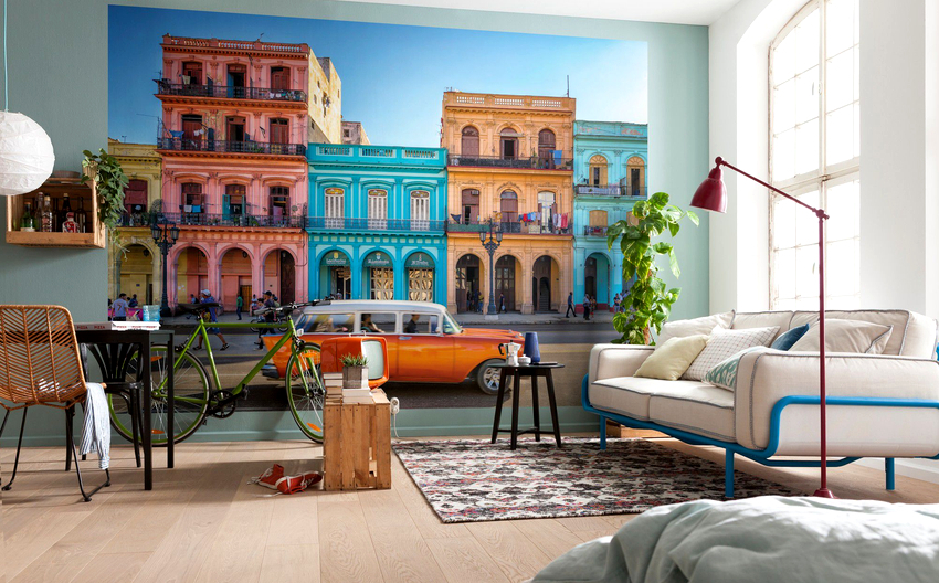 Чтобы создать красивый дизайн, нужно подобрать рисунок фотообоев так, чтобы он сочетался с мебелью