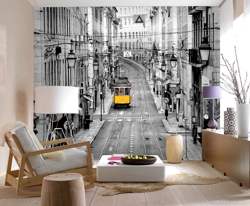 Очень удачно в современный интерьер впишутся обои с фото городов