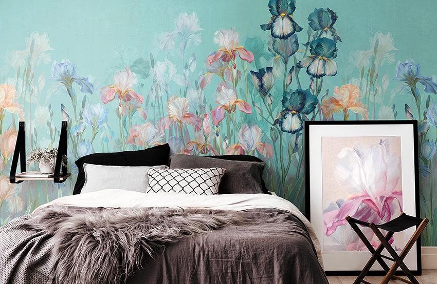 Важно правильно подбирать насыщенность цветов и не слишком затемнять спальню