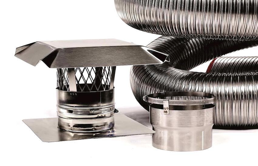 Трубы из нержавеющей стали применяют как соединители между вытяжками и вентиляционными каналами, а также в качестве дымоходов