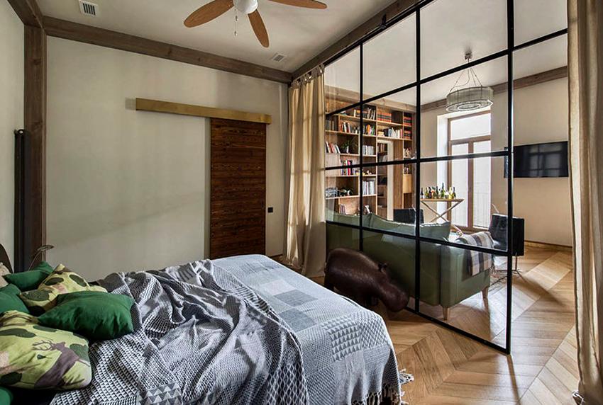При оформлении спальни с гостиной в одном помещении не рекомендуется использовать более 3-4 цветов