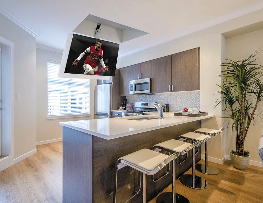 Высота установки телевизора на кухне определяется исходя из безопасности и количества свободного места