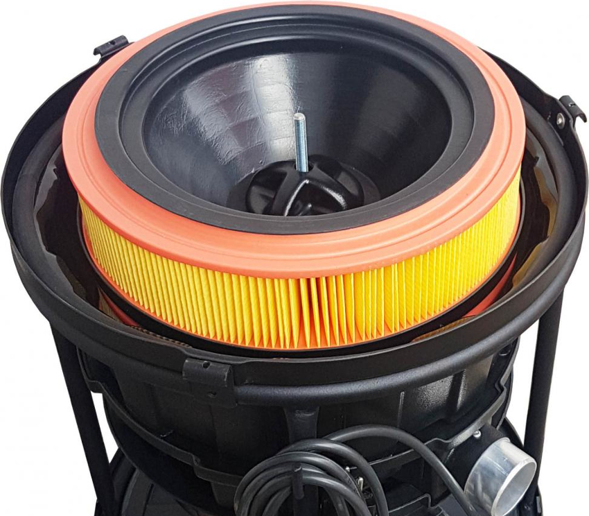 Система очистки промышленного пылесоса включает не только пылесборник, но и фильтр для тонкой очистки воздуха