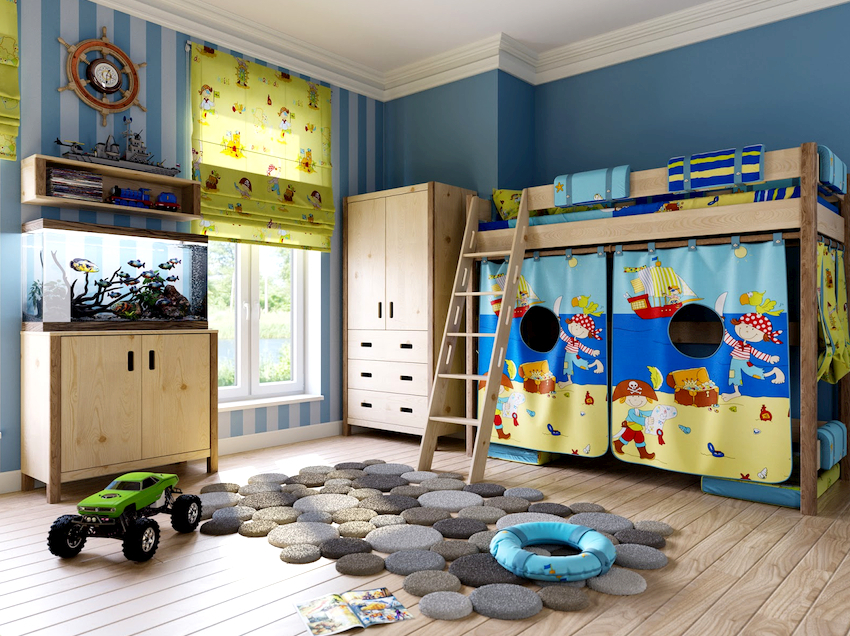 Для оформления детских комнат активно применяются ковры из синтетических материалов