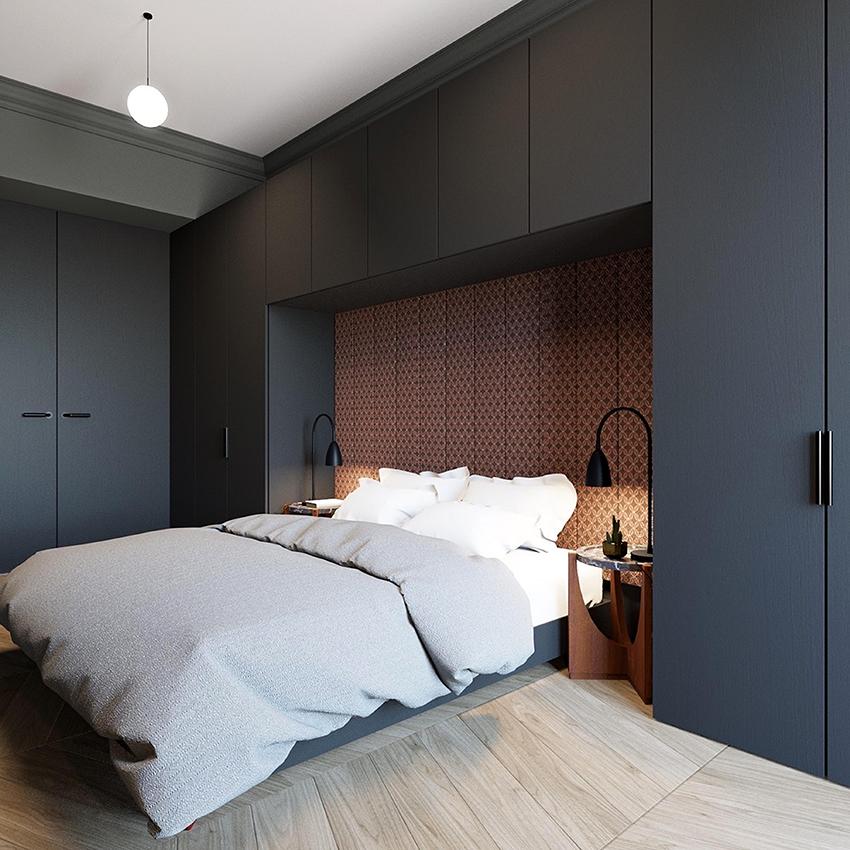 Кровать без изголовья можно поставить как возле стены, так и посередине комнаты