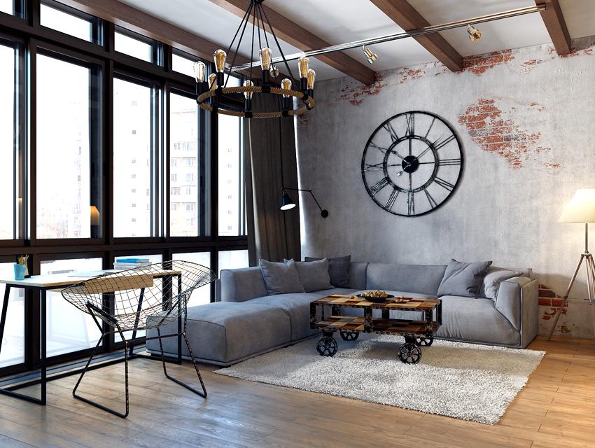 В стиль лофт органично впишется потолочная люстра необычного дизайна, которая напоминает колесо с вмонтированными в него лампами