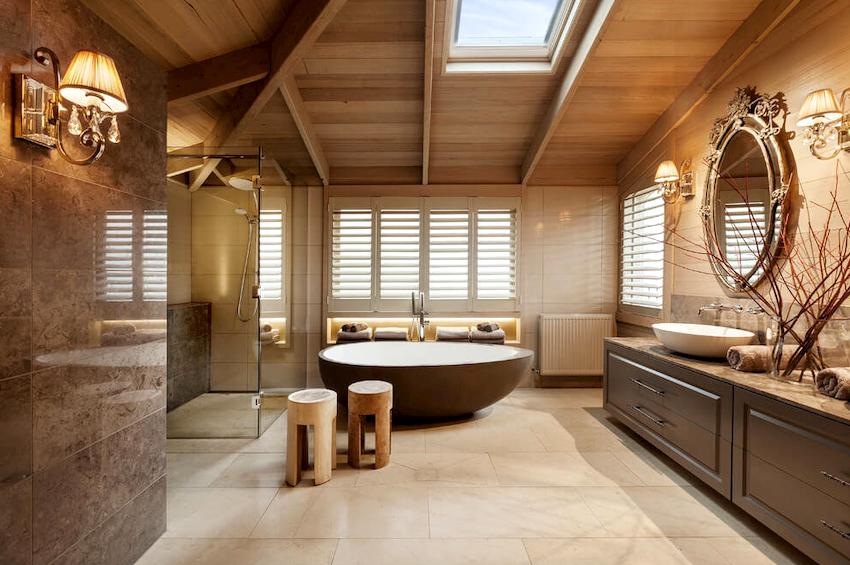 Гарнитуры для ванной по внешнему виду должны соответствовать отделке поверхностей по фактуре и цвету
