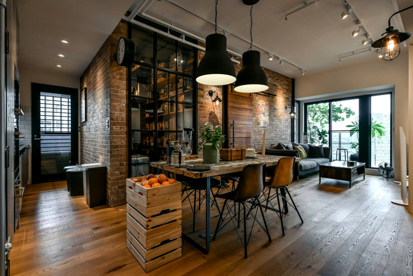 В кухне-гостиной важно организовать освещение разной интенсивности