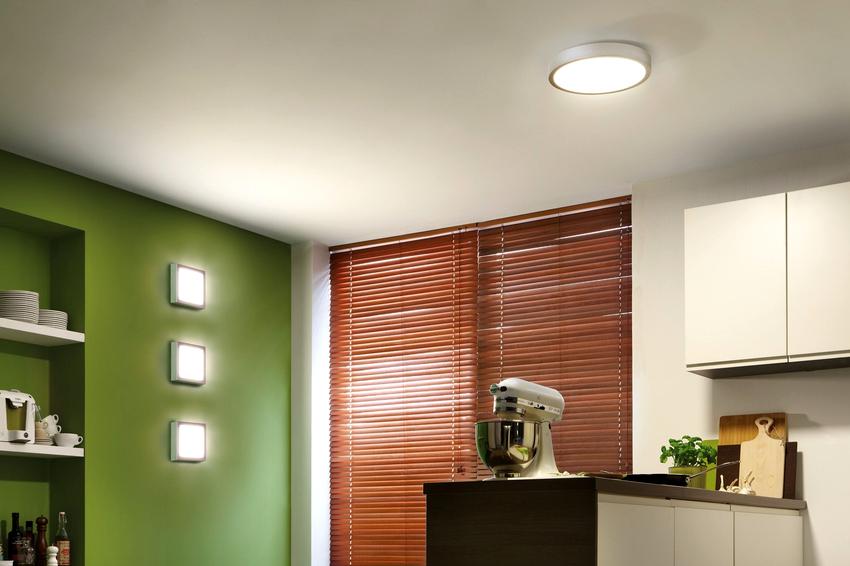 Для центрального освещения можно использовать люстру, подвесной светильник, встроенные точечные, накладные, шинные источники света или светодиодную подсветку