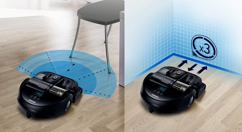 Пылесос Samsung VR7070 сканирует пространство вокруг и составляет маршрут движения