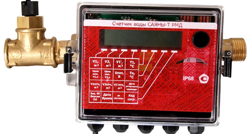 Электронный водомер, оснащенный температурным датчиком, функционирует от батареек
