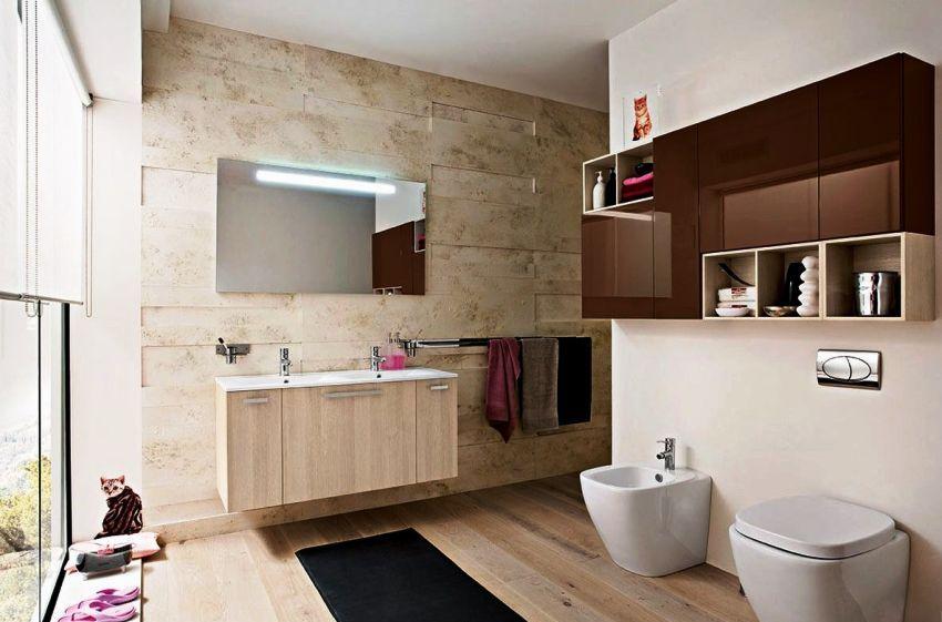 Навесные — вариант подвесного шкафа может устанавливаться над унитазом или на боковой стене