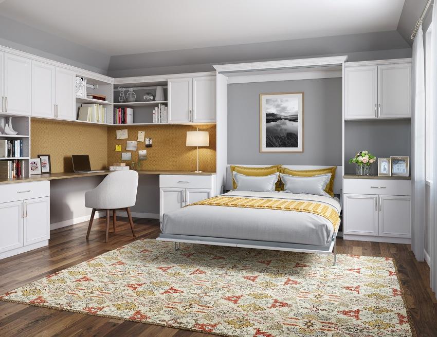 Правильное и грамотное расположение стенки в спальне позволит организовать пространство так, чтобы всё необходимое было под рукой