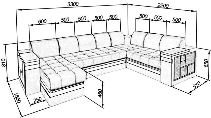 Чертеж нестандартного углового дивана с размерами