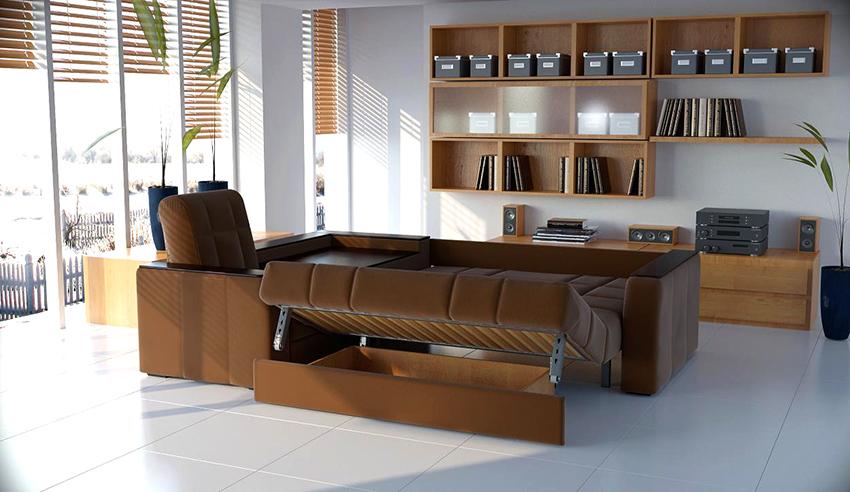 В угловом диване «Аккордеон» ширина спального места соответствует длине конструкции в собранном виде