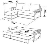 """Вариант размеров углового дивана с механизмом трансформации """"Еврокнижка"""""""