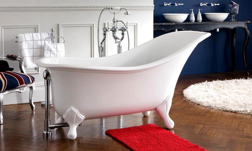 Любая модель ванны на ножках имеет весь необходимый набор функционального оборудования