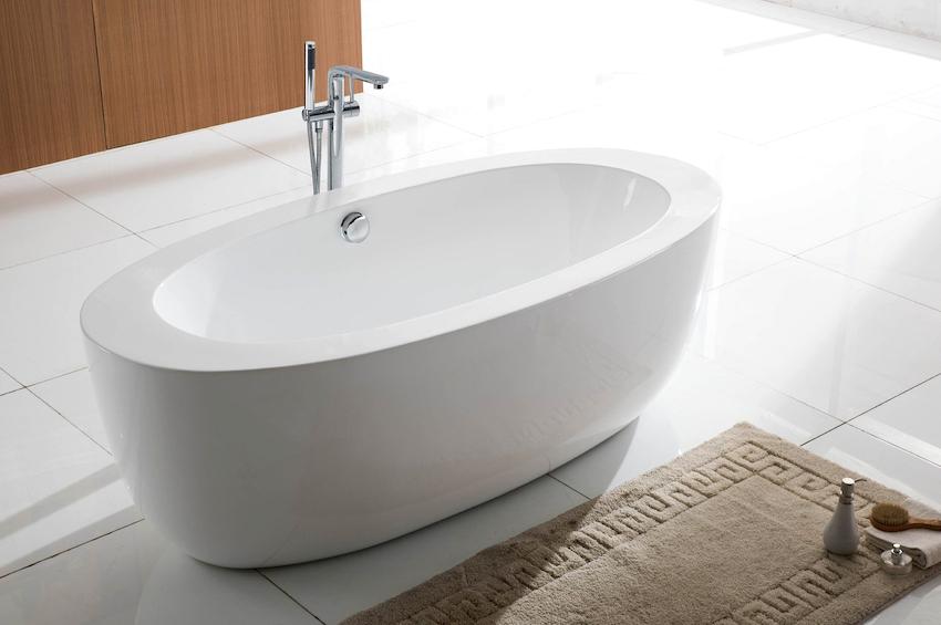 Стандартные размеры овальных ванн такие же, как и у изделий в форме прямоугольника