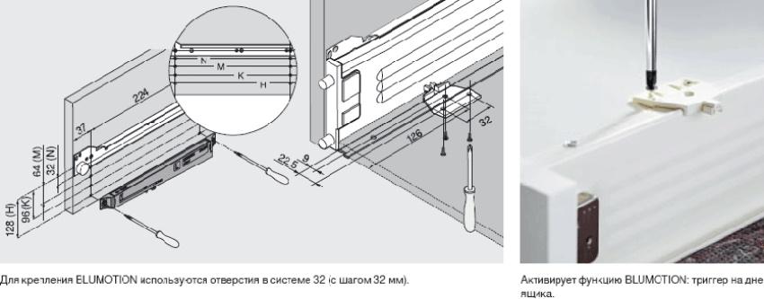 Доводчик для выдвижного ящика прикладывается к намеченным позициям и прикручивается в стенке ящика