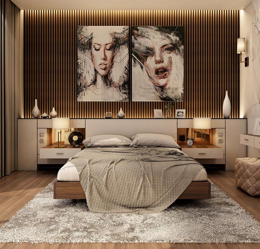 Кровать с полками в изголовье – удачное решение для современного интерьера