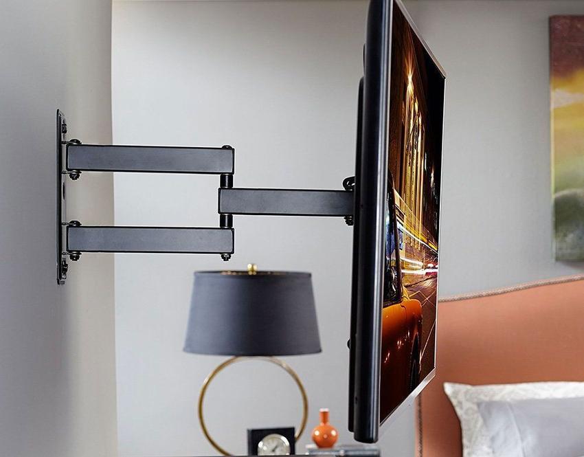 С помощью кронштейна можно зафиксировать телевизор на любой вертикальной поверхности