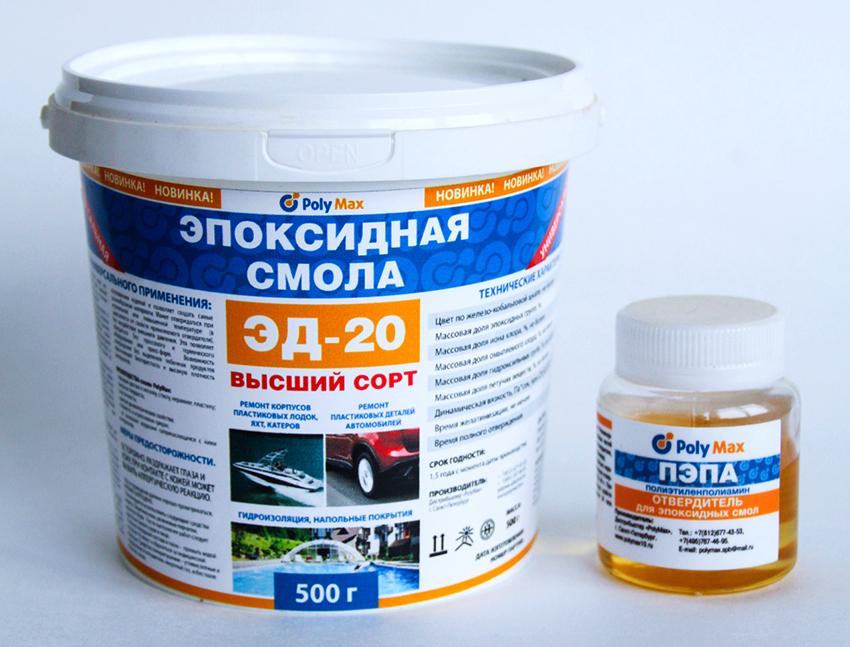 Эпоксидная смола ЭД-20 характеризуется высокой прочностью и плотностью