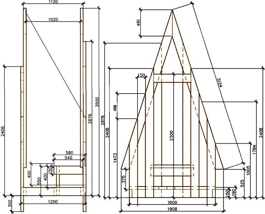 Чертеж дачного туалета в форме шалаша для изготовления своими руками