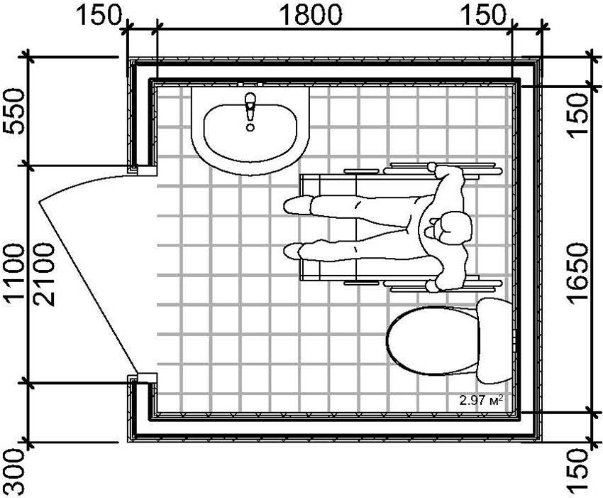 План туалета стандартных размеров для людей с ограниченными возможностями