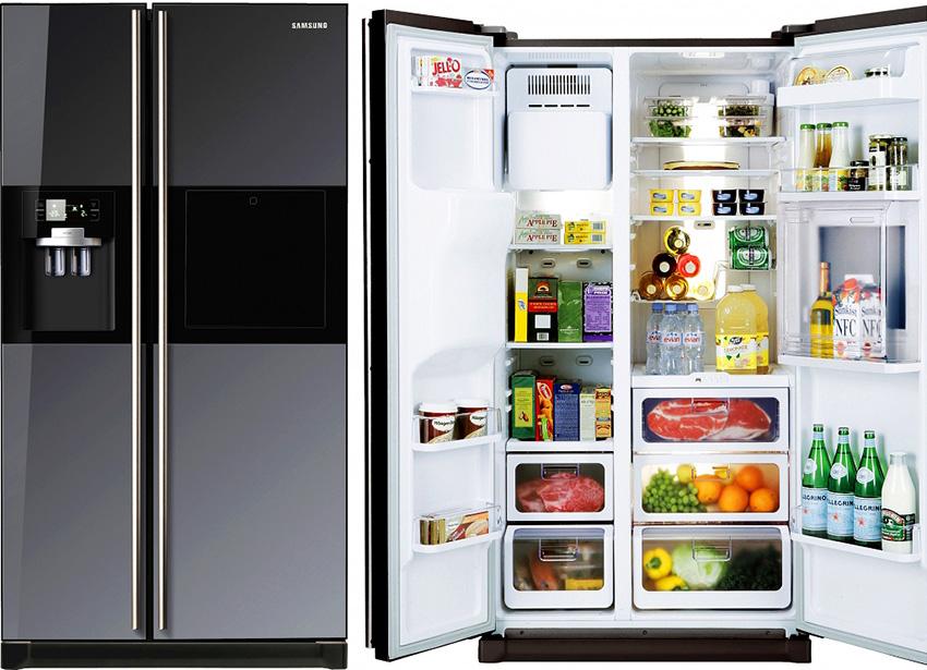 Холодильники Side-by-Side от компании Samsung имеют высоту от 170 до 215 см