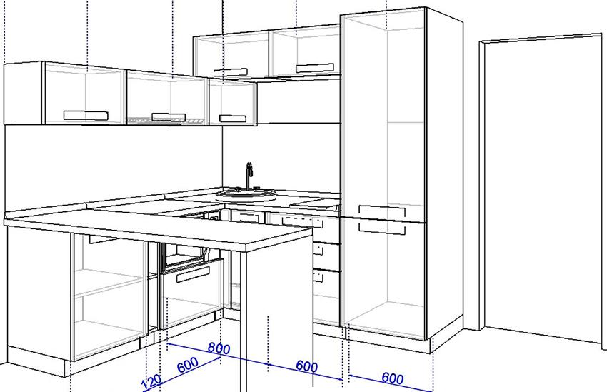 Ширину холодильника необходимо подбирать в зависимости от отведенного для него пространства на кухне