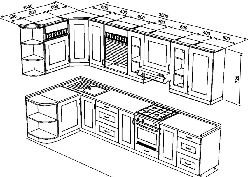 Типовой проект кухонного гарнитура размером 1500х3500 мм