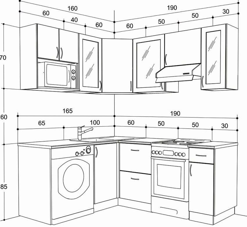 Параметры имеют тесную взаимосвязь, поэтому важно соблюдать размеры, это поможет сохранить функциональность кухонного помещения