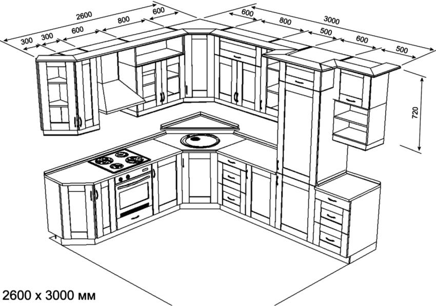 Чертеж кухонного гарнитура с размерами поможет избежать распространенных ошибок во время монтажа