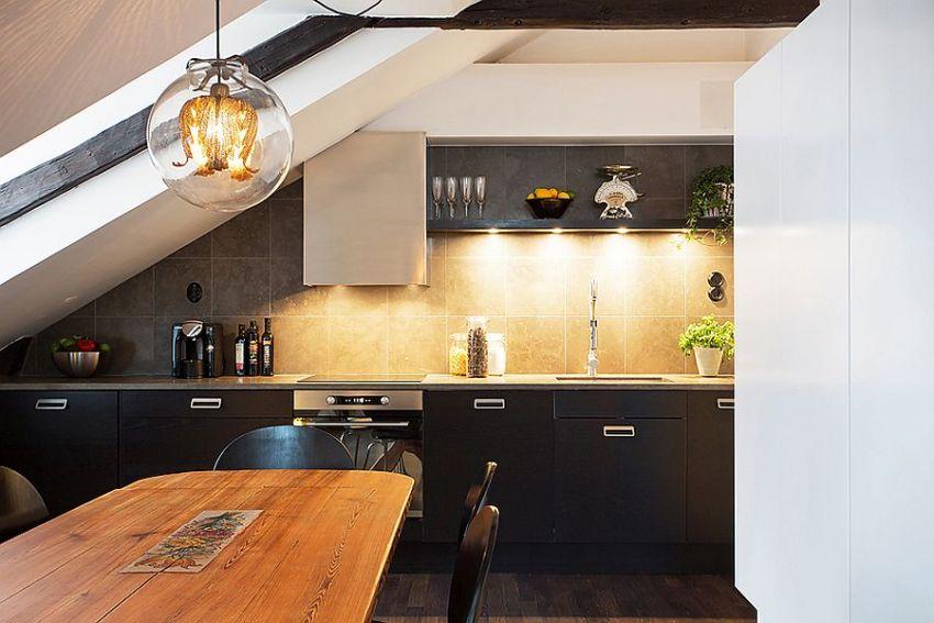 Прямое расположение кухонного гарнитура считается самым правильным и экономным